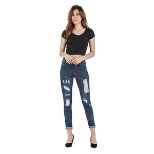 BR-57306S Ankle Distressed Mid Waist Jeans